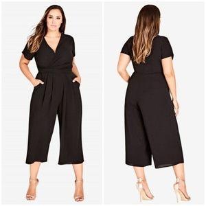 City Chic wrap front crop jumpsuit black pockets
